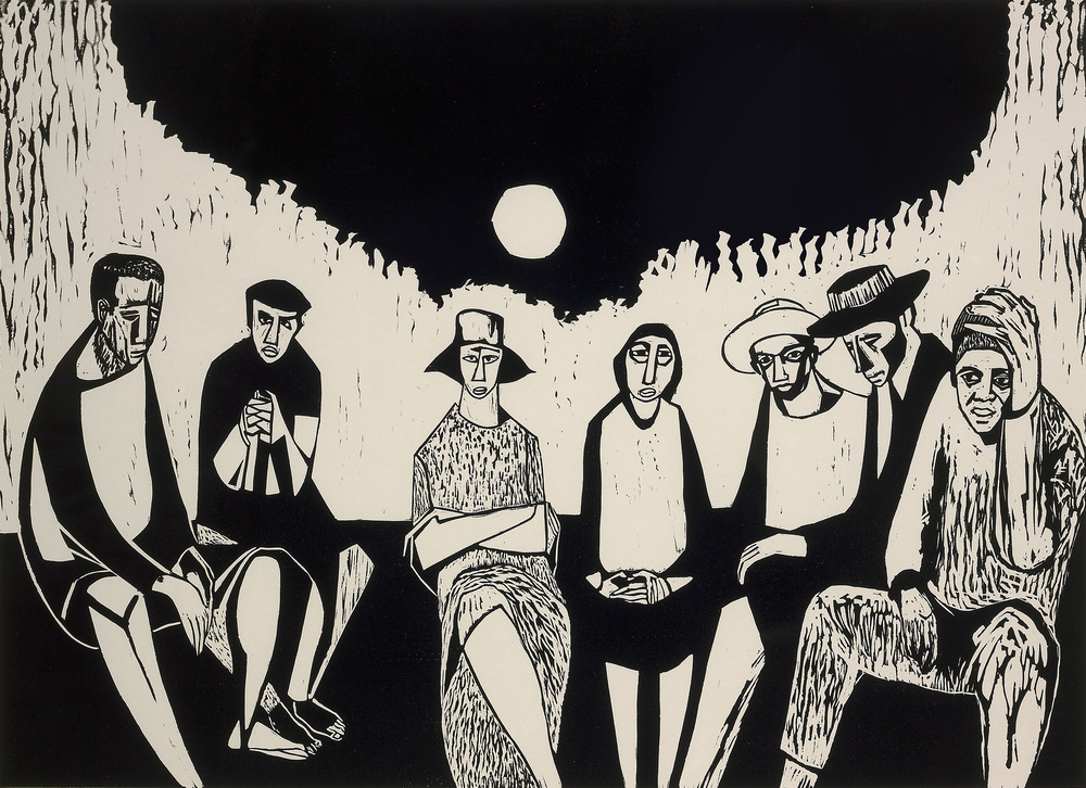 Migrants,  1968, linocut print, 18 x 24 inches; 45.7 x 61 centimeters