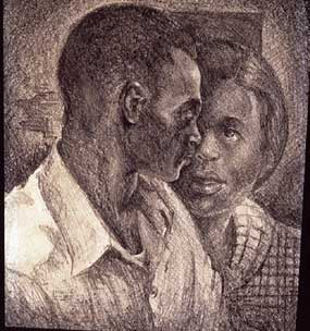 Couple , 1940, Lithograph crayon on paper, 24 x 18""