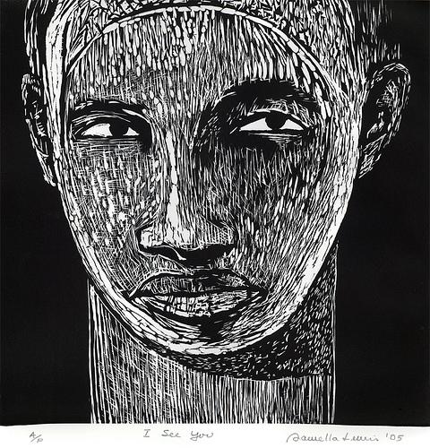 I See You, AP, 2005,Linocut, 25 .5 x 20.5