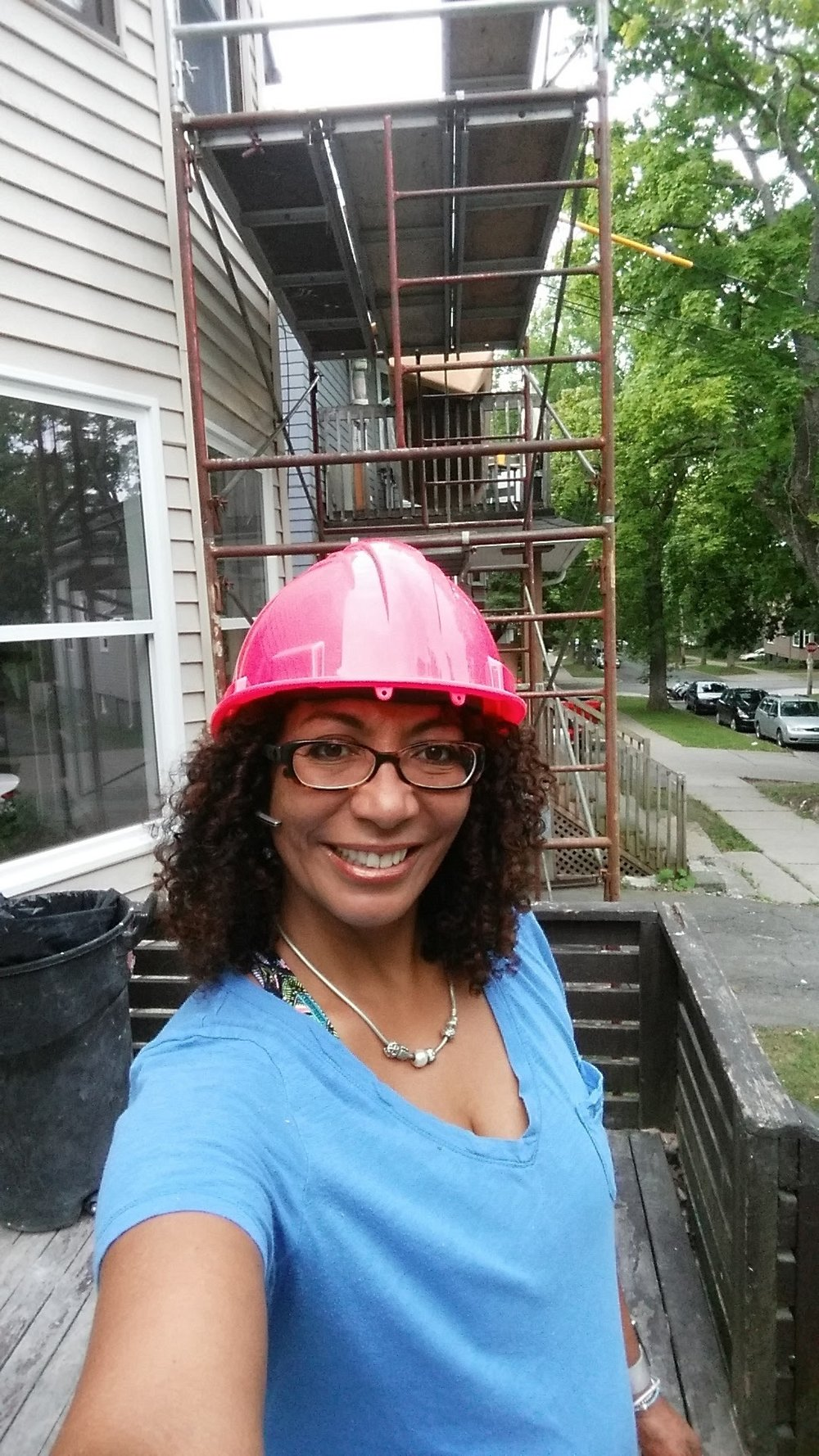 Lisa on site with Pink Hardhat