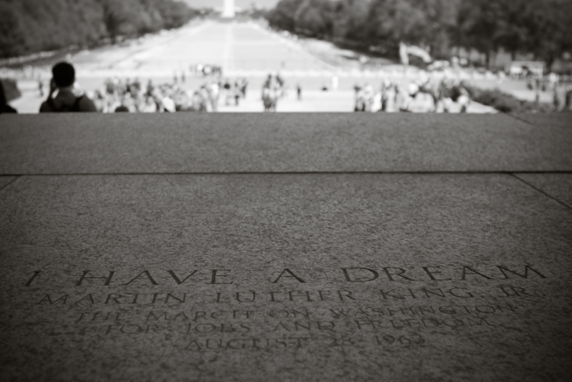 I Have A Dream speech. Footsteps of the Lincoln Memorial