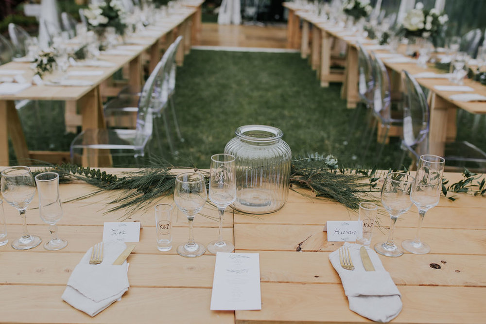 Wedding Marquee & Furniture Hire. Wooden  Trestle Tables at Reception, Tauranga.