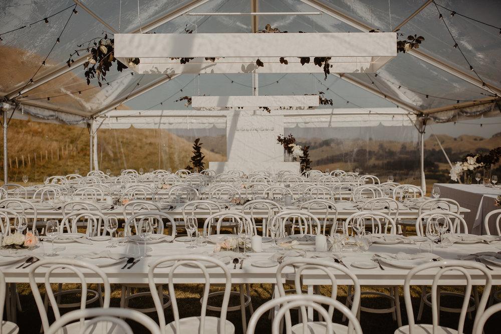 Wedding Marquee & Furniture Hire. Lynell & Josh's Wedding Reception Setting, Hawkes Bay.