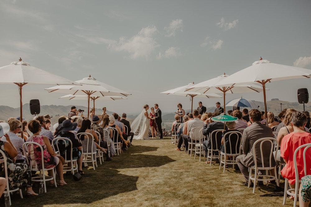 Wedding Marquee & Furniture Hire. Lynell & Josh's Wedding Ceremony, Hawkes Bay.