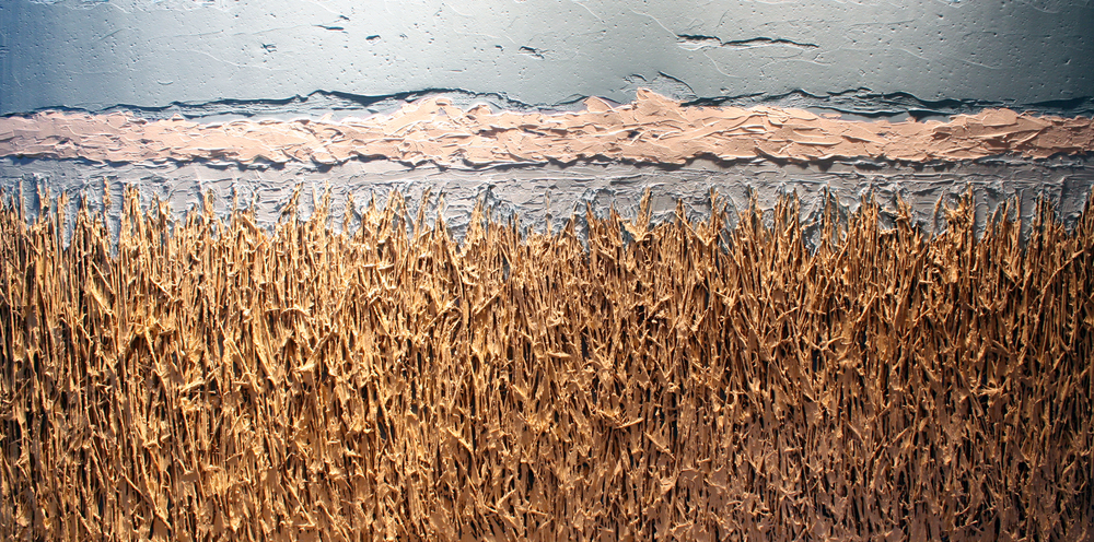 Untitled No. 4  |  Fields and Fences Collection  |  8 x 5 feet  |  Mixed media on wood panel
