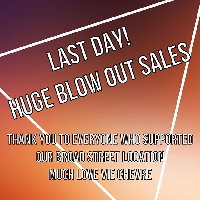 Well today is the last day! Huge blow out sales at Vie Chevre, all soap is $5 a bar but 2 get another for $3.  We want to say a heart full thank you to everyone who supported our shop @broadstreetmarket. The last 3 years have been amazing we wouldn't trade it for the world. We will miss our little corner of the world, but we will be back. Keep your eyes posted for the new life of Vie Chevre in 2 months.  #goatlife #love #sale #neighbors #shoplocal #creativeentrepreneur #makersgonnamake