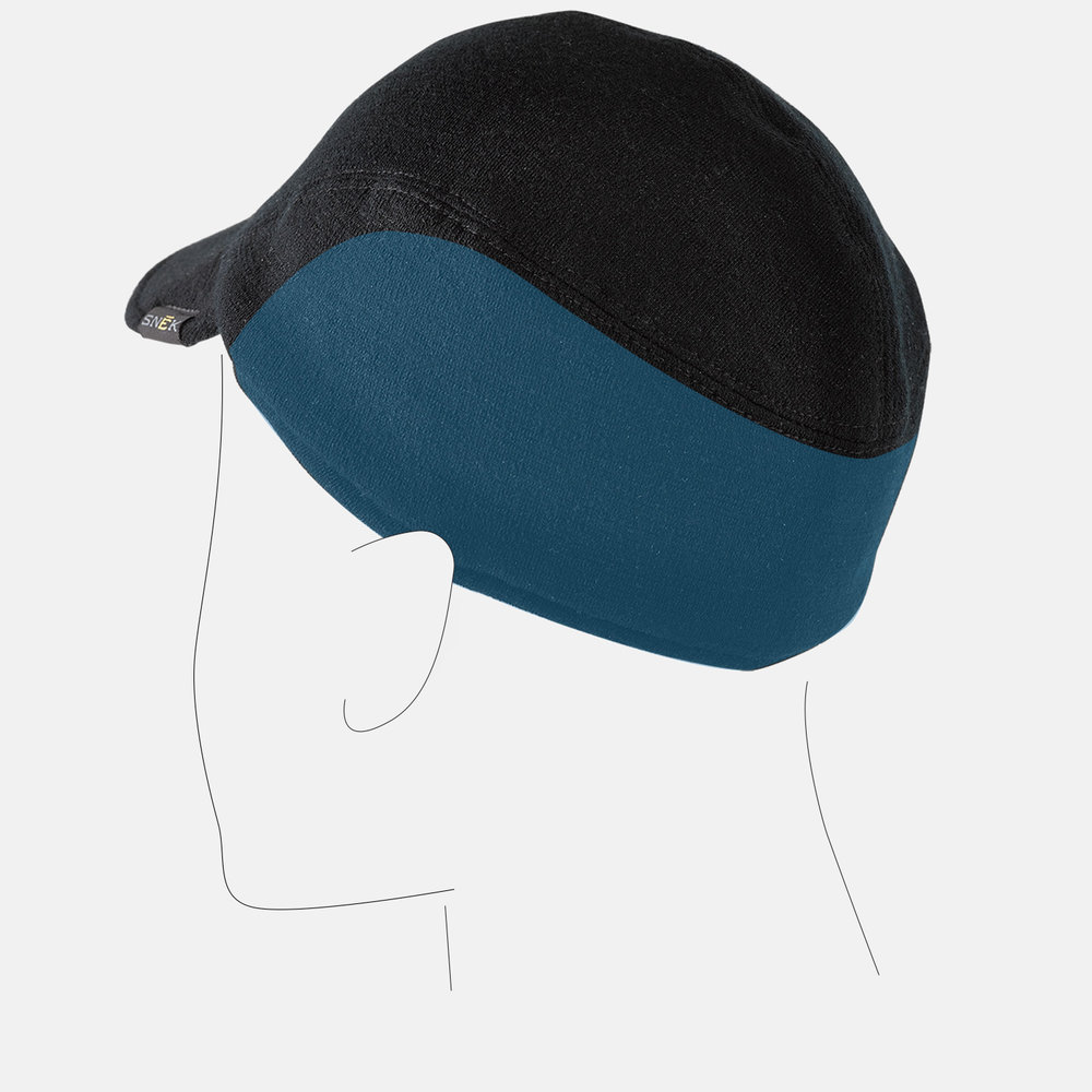 Hide-able earflap follows the same shape as the back cap panel so it is unnoticeable when tucked.