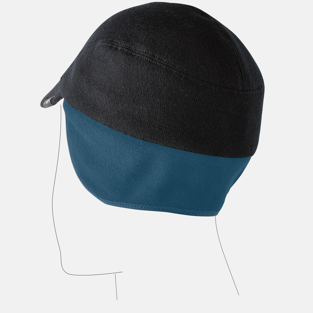 Ergonomic earflap covers your ears, not your neck, allowing for ventilation.