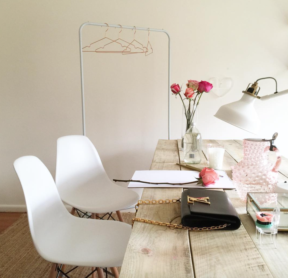 Caroline's dreamy workspace, in the perfect Nectar & Stone palette!