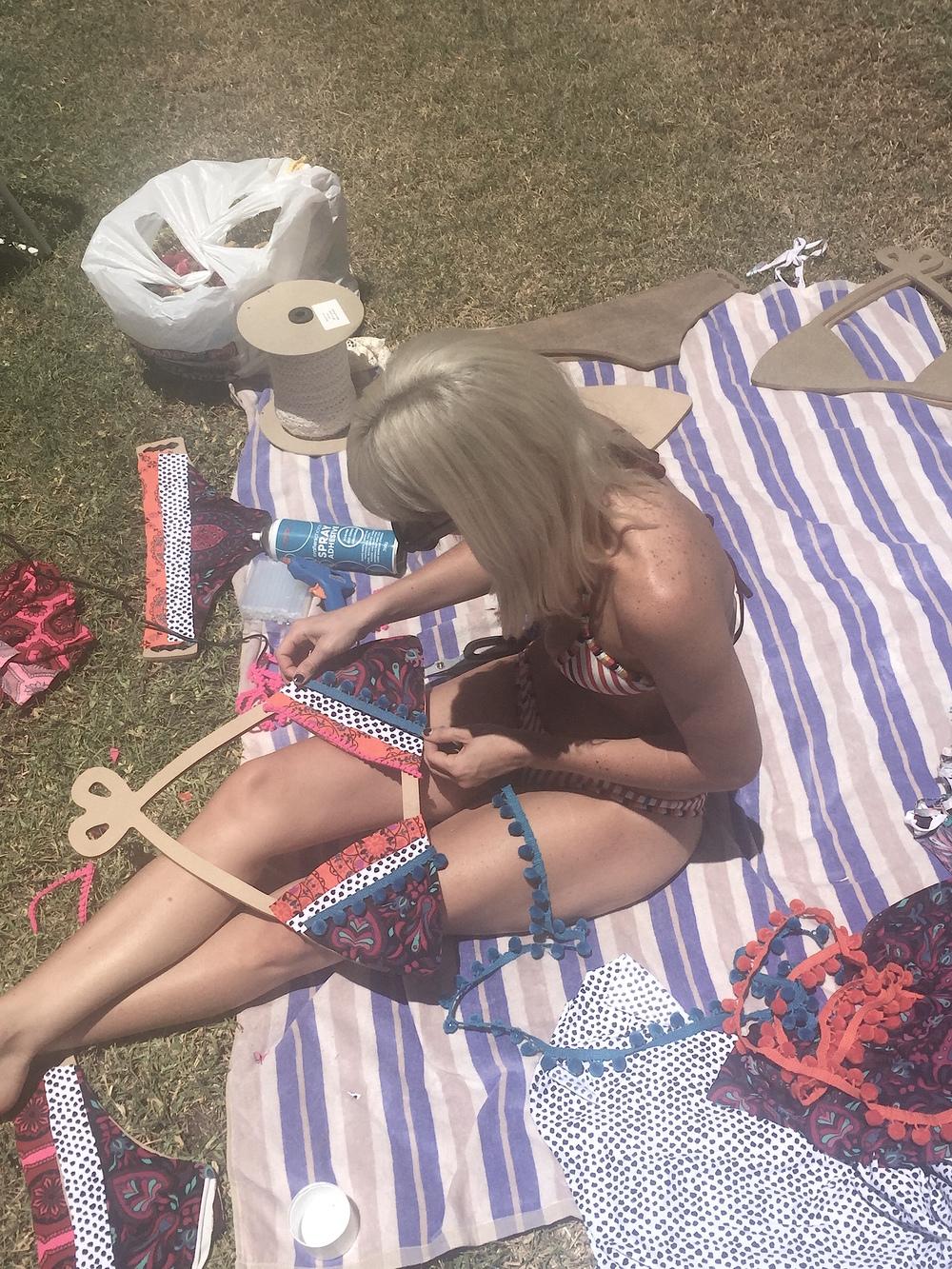 BETH making Tigerlily Bikini props, in her bikini!
