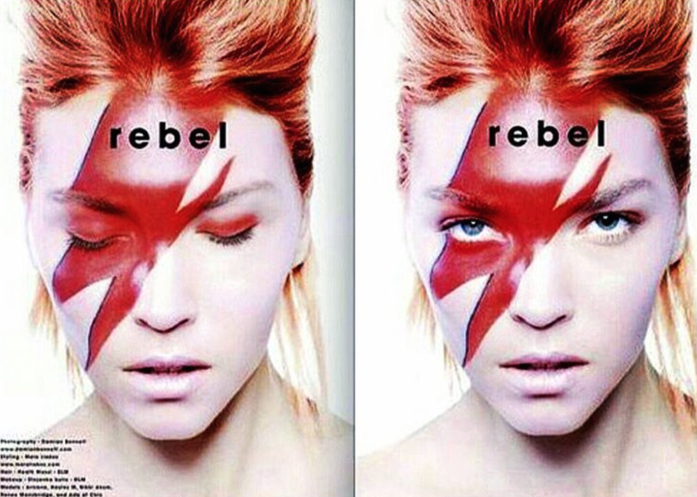 Stoj recreates David Bowie's iconic look.