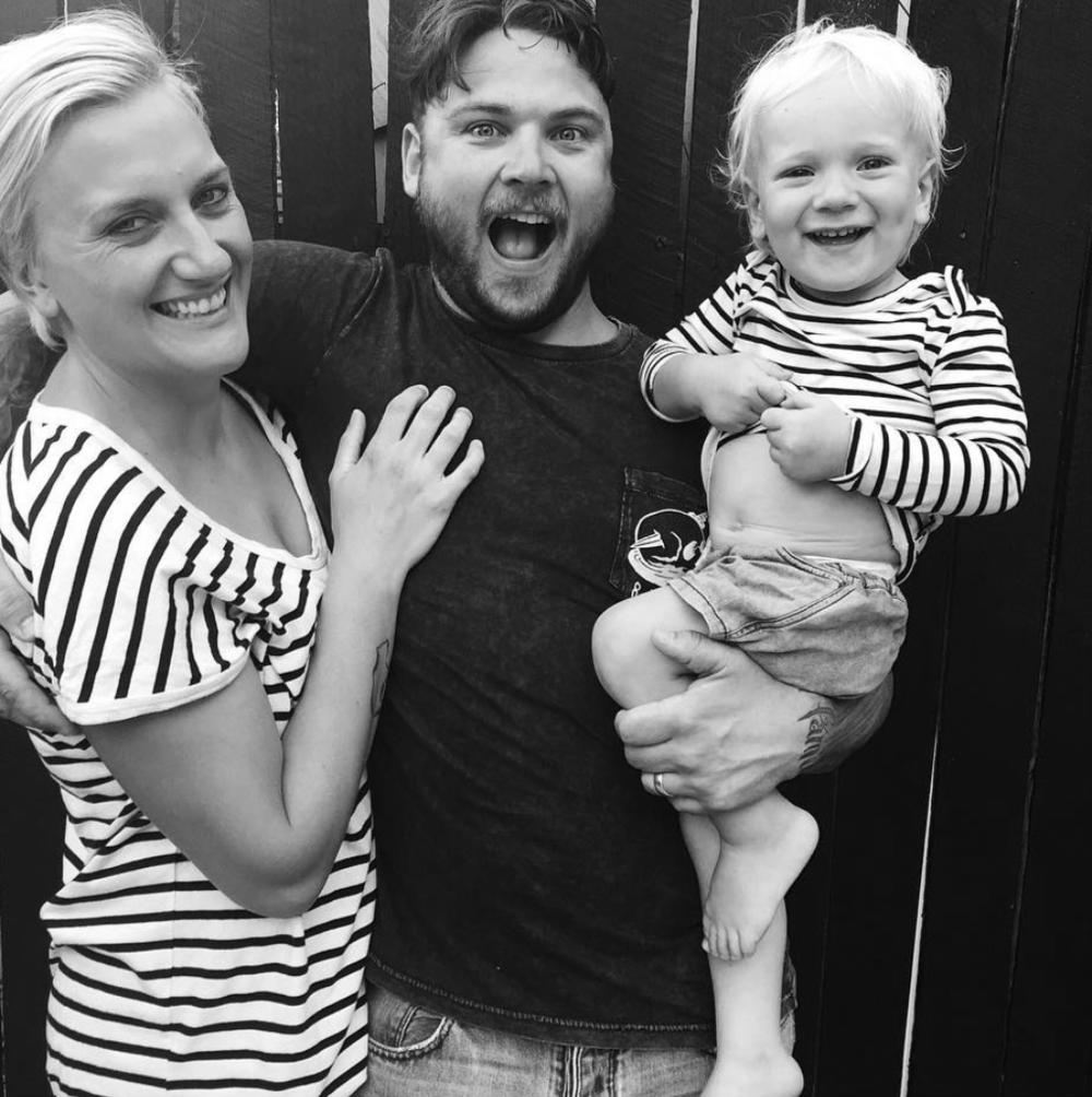 Aimie, her husband Luke, and their son & company namesake; Bear.