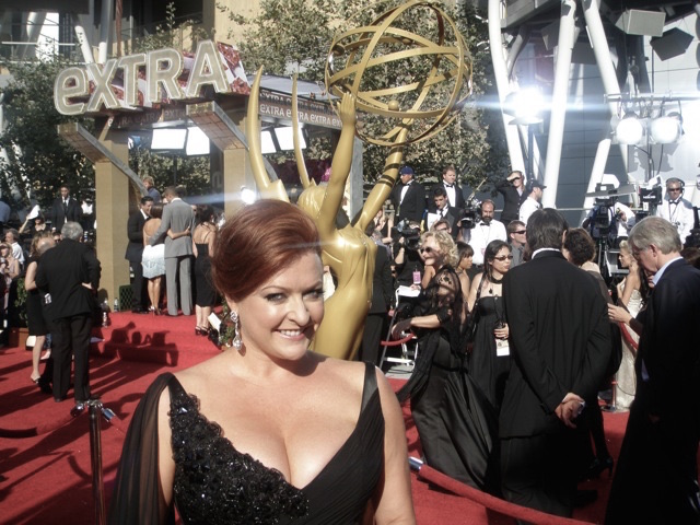 SHELLY ON THE RED CARPET AT THE OSCARS, AS A CORRESPONDENT.