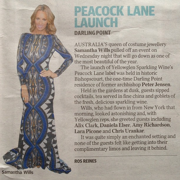 Media reviews of the launch of, YELLOWGLEN Peacock Lane By Samantha Wills