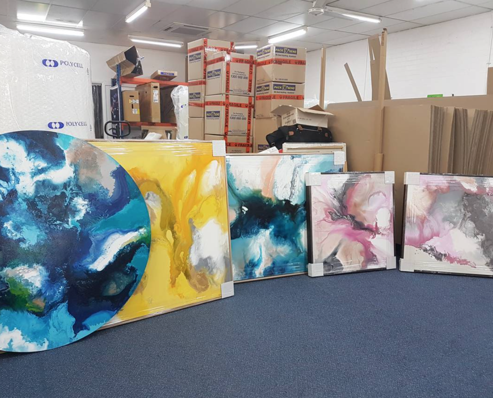 Nicky's beautiful artworks getting ready to be shipped out to their new homes.