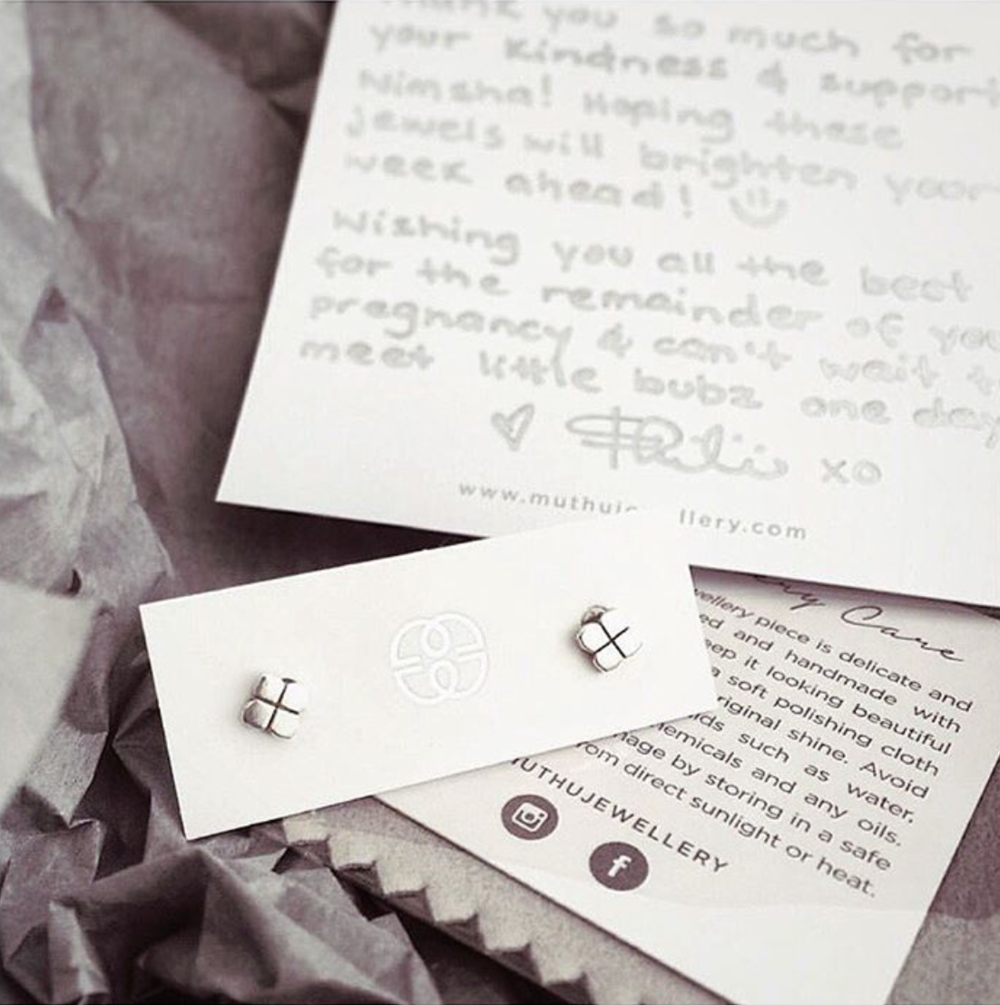 Personalization for her customers, Thilini's hand written notes.