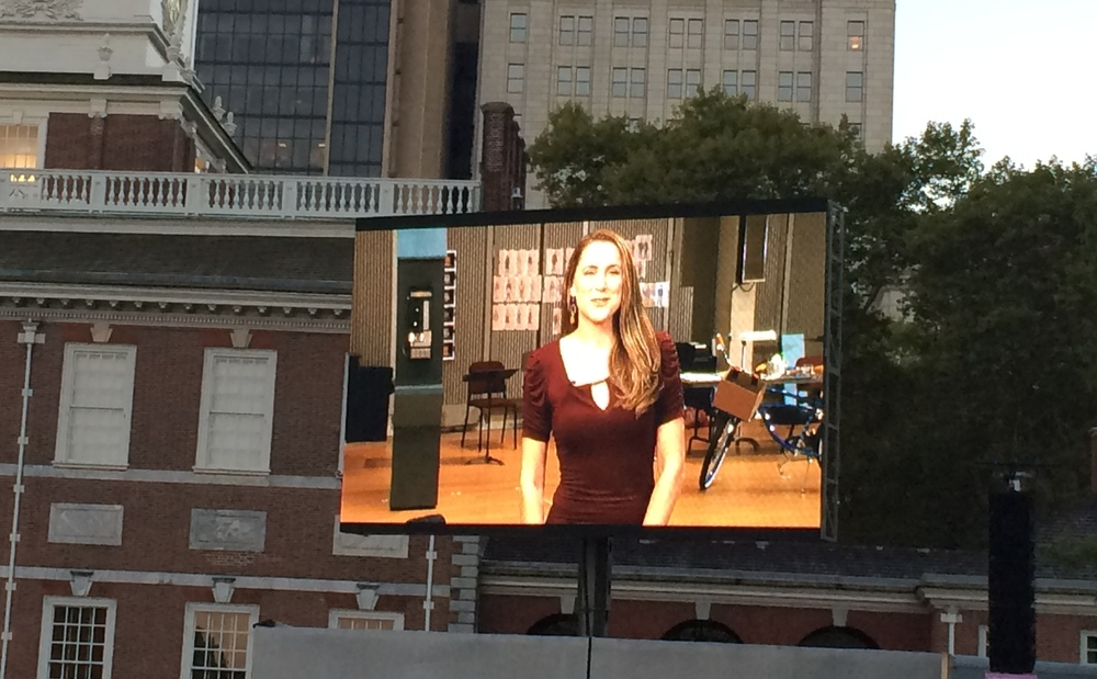 "On the big screen at Opera Philadelphia's ""Opera on the Mall"" screening of ""Barbiere"""