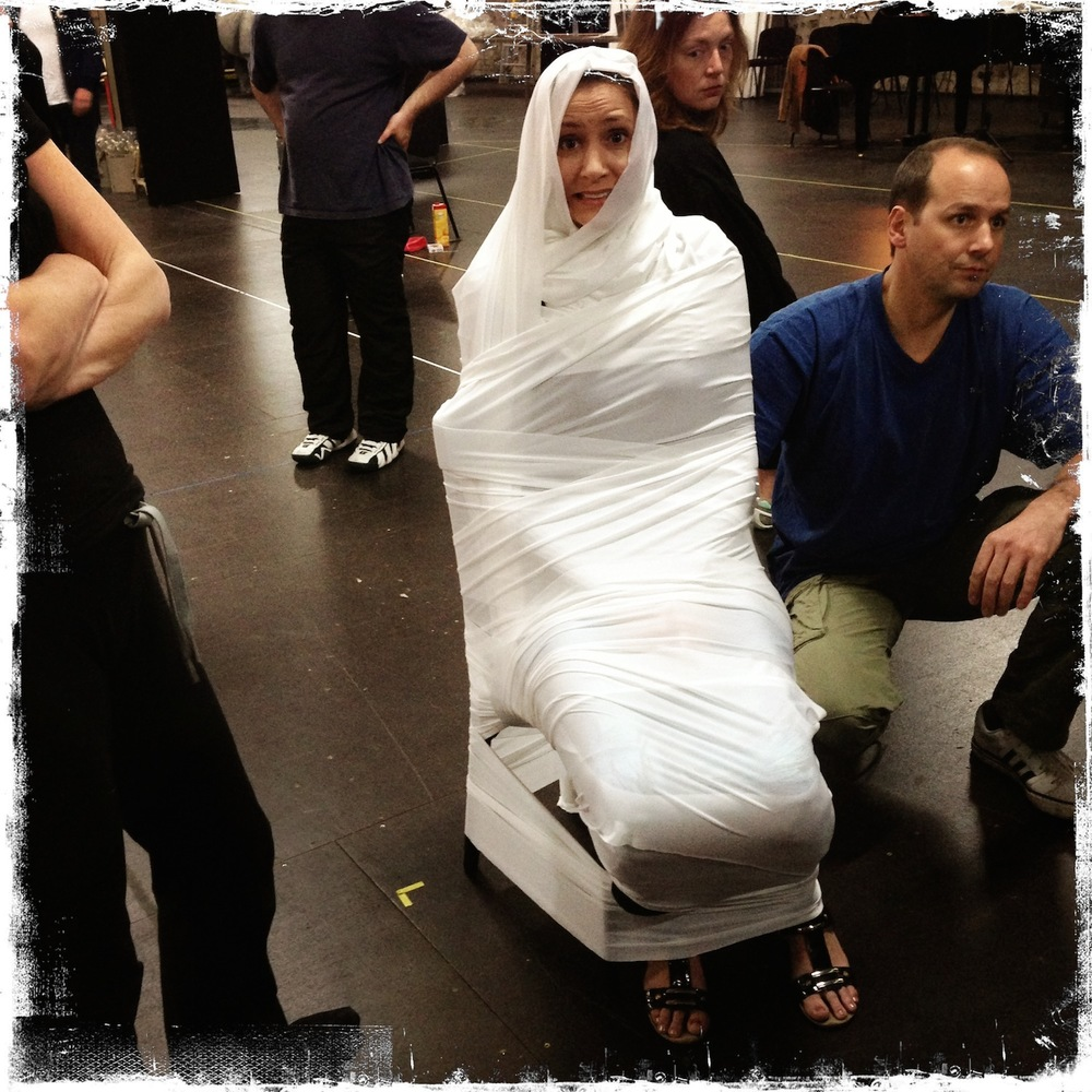 "Mummified. Rehearsals for Philip Glass' ""Satyagraha at Oper Bonn"