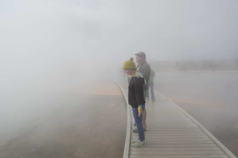 Me and Mark pretending to be Michael Jackson in the wind and steam.