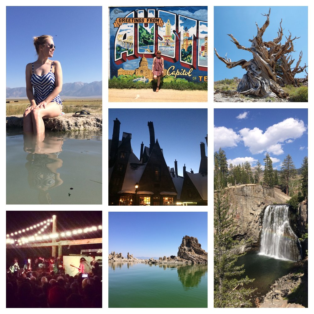 2016: The good; sitting in a muddy hot spring in the middle of a meadow with cows, seeing Austin for the first time, visiting the oldest trees on the planet in the Bristlecone Pine forest, hiking by Rainbow Springs and later laying in the foot of the waterfall, touring the other worldly tuftas by boat in Mono Lake, seeing the incredible Charles Bradley at Pappy and Harriets in the desert, visiting the Harry Potter Wizarding World with 2 fellow Potterfiles before it was officially open.