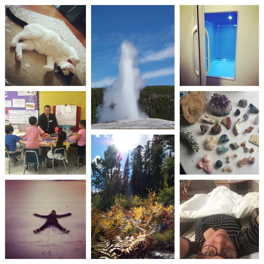 (from upper left) The best kitty in the universe, Miss Madeline, Old Faithful right on time, floating for the first time, volunteering at Reading to Kids with Mike, the rock haul from the annual Quartzsite trip, snow angel in a Milwaukee blizzard, one of the best hikes of my life in the Tetons, sleeping next to mom in the hospital.
