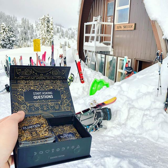 Happy New Year! We had an amazing NYE party up at #elfinlakeshut in #garibaldi and gifted the Backers' Edition to the hut because cozy huts + FLUSTER = 👌🏽 . @bcparksfdn