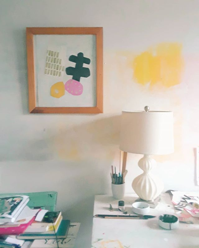 Cleaning up my studio desk for a new project. ^_^  I love to paint my walls imperfectly. . . . #collage #cynthiajabar #srudio #interiordesign #inspiration #nyc #illustration #color