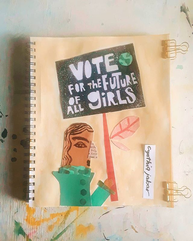 Let us as older women, continue to stand up and be present for ourselves so we can be present for our girls. #newstory . . . #girlpower #grlpwr from #NYC  #collage #cardboard #recycledart #inktober2018 #illustration #illustratorsofinstagram #shepersisted #makersgonnamake