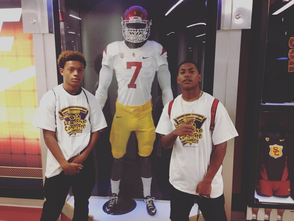 Got a couple of the kids on campus at SC for the Destination Manhood camp, took them on the stage, thru class and into the football complex. Trying to get them enthusiastic about college in 10th grade. #crenshawjv by nerdyjoq.jpg