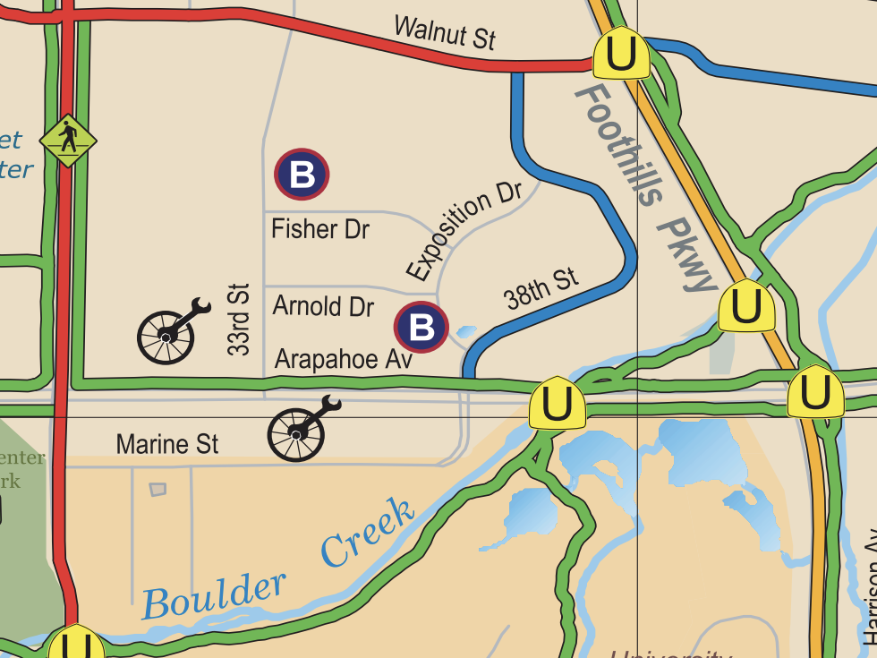 Click for     City of Boulder Bike/Pedestrian Map