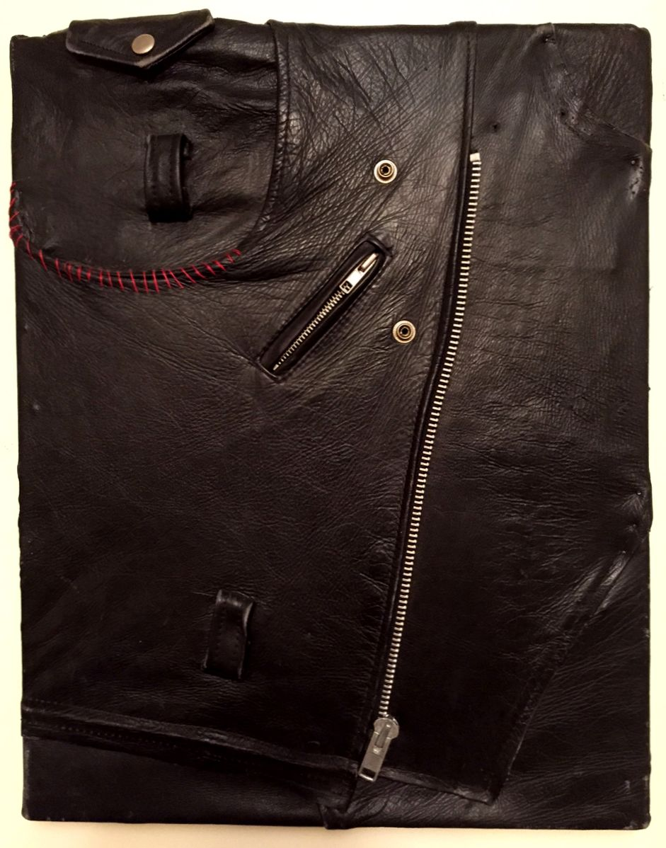 "Untitled (Cloak of Self-Expression), 2013, leather jacket and thread over cardboard over canvas frame, 20.5"" x 16"""