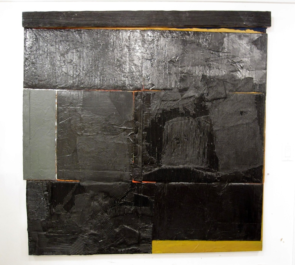 "Untitled, 2012, acrylic, paper, fabric, cardboard, and wood on canvas, 54.75"" x 55"""