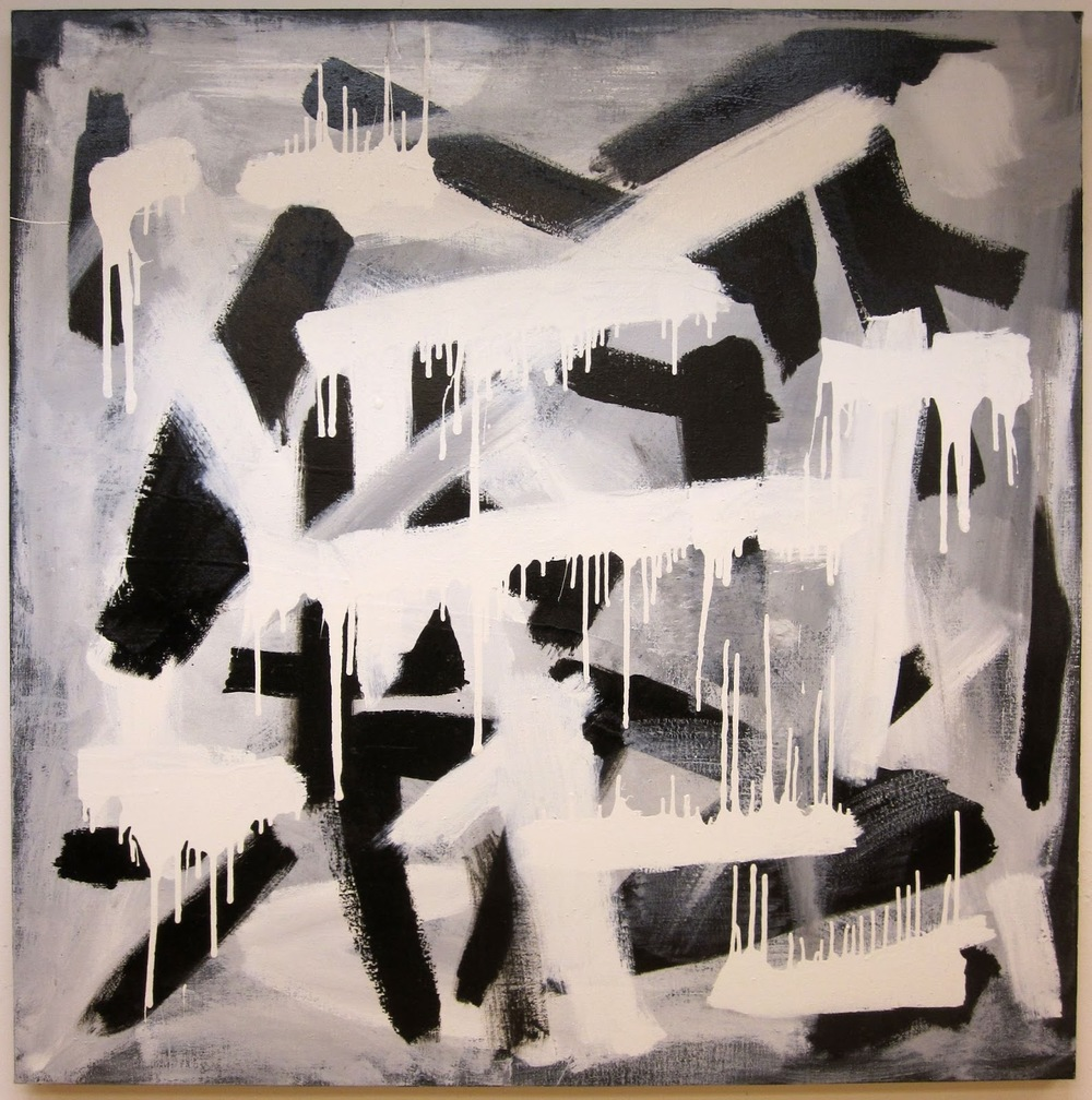 "Gestural Black & White #1, 2012, enamel on canvas, 50"" x 50"""