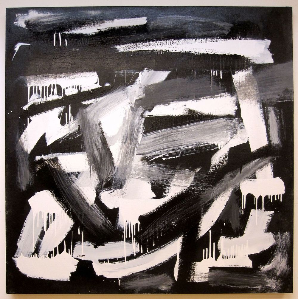 "Gestural Black & White #4, 2012, enamel on canvas, 46"" x 46"""