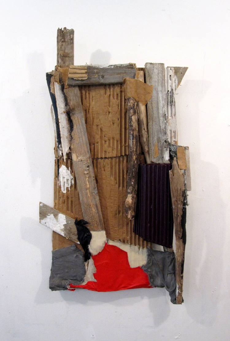 "Untitled Construction, 2012, acrylic, cardboard, paper, fabric, wood, 21.5"" x 12"""