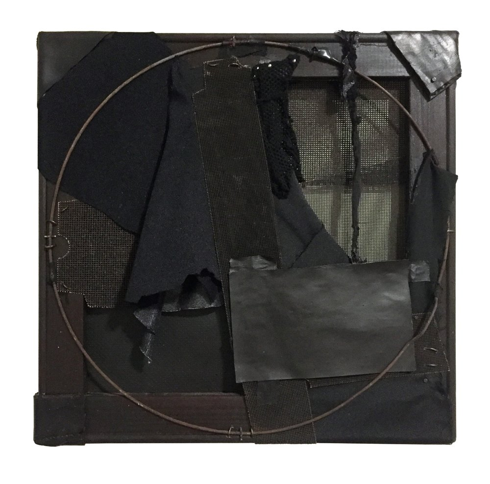 "Black No. 5, 2011, mixed media with canvas frame, 14"" x 14"" x 3"""