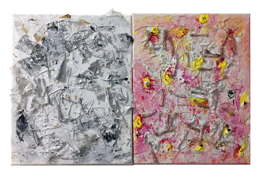 "Untitled (Diptych), 2017, acrylic, fabric, sandpaper, paper, thread and twine on canvas, each panel 11"" x 14"", 14"" x 22"" overall"