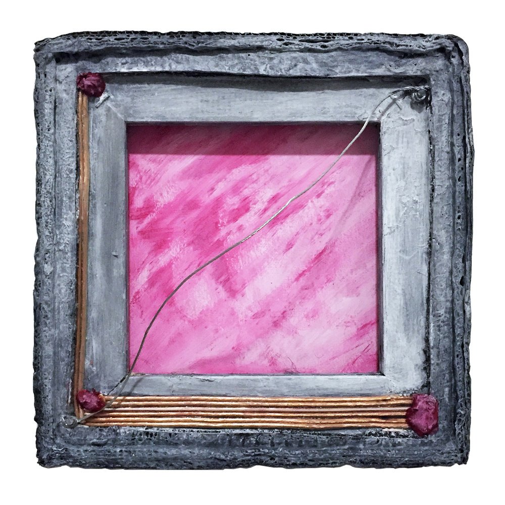 "Matter and Void (Concentration Principle) 4, 2017, acrylic, canvas frame, wire, and nails, 10"" x 10"" x 4"""
