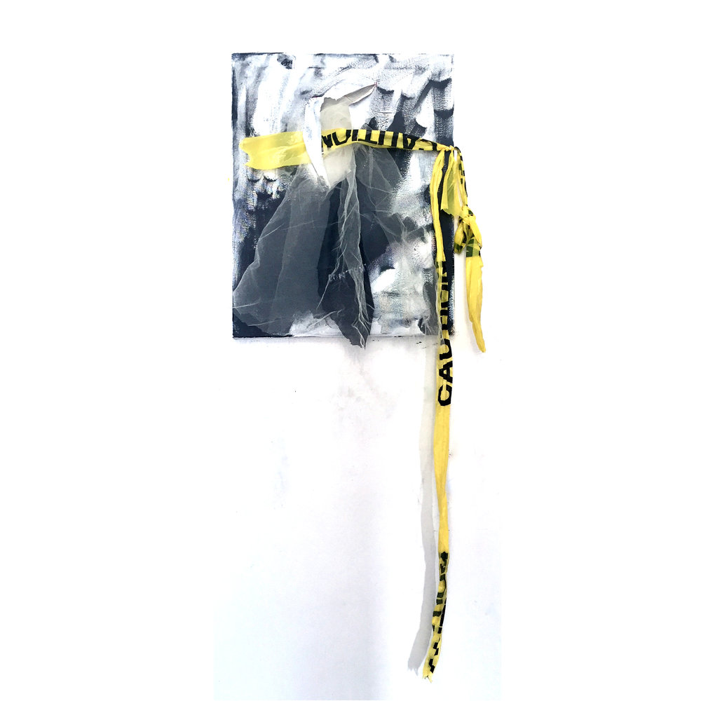 "CAUTION (CONTENT), 2018, acrylic, fabric, caution tape and thread on canvas, 42"" x 19"" x 5"""