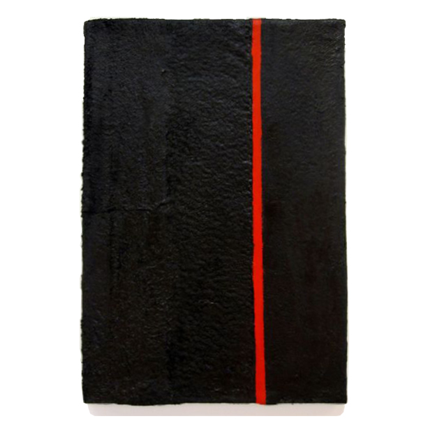 "Black and Red Vertical, 2011, acrylic on fabric over canvas frame, 24"" x 16"""