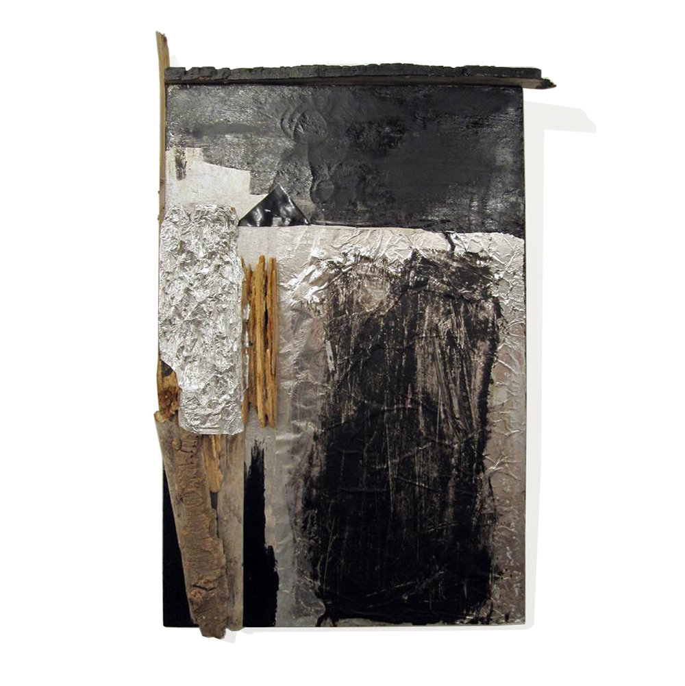 "Construction no. 7, 2011, acrylic, aluminum foil, driftwood, and fabric on canvas, 26"" x 18"""