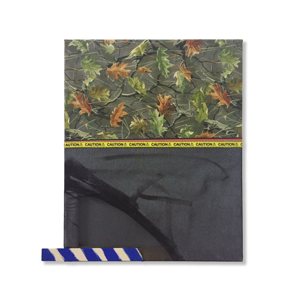 "Camo Leaves with Blue, 2018, acrylic, caution tape, fabric, canvas, wood, 20"" x 19"""