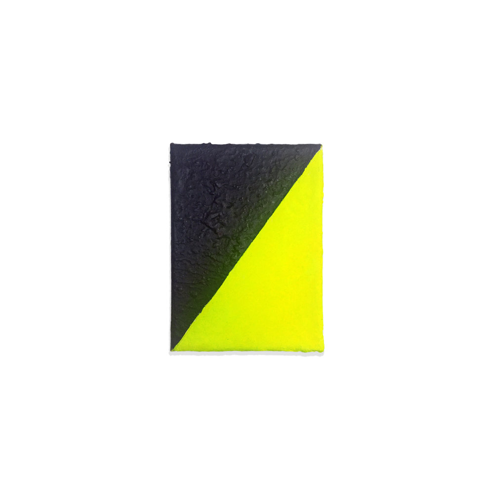 "Neon Yellow Diagonal, 2017, acrylic on canvas, 7"" x 5"""