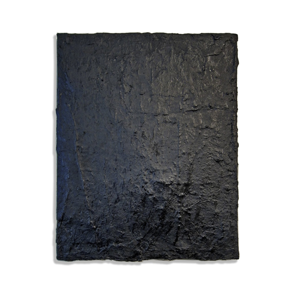 "Tarred Canvas, 2015, roofing tar over acrylic on canvas, 18"" x 14"""