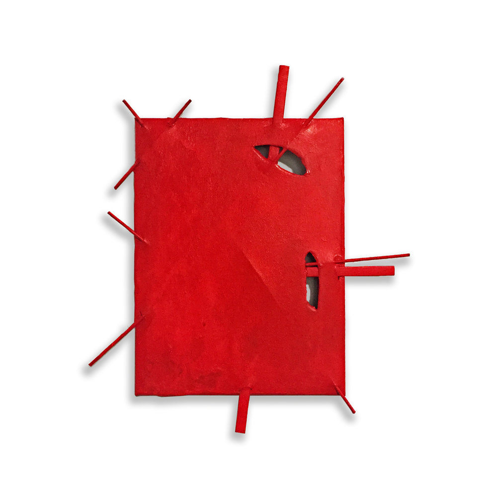 "Suprematist Construction (Red), 2018, acrylic, canvas and wood, 16"" x 14"""