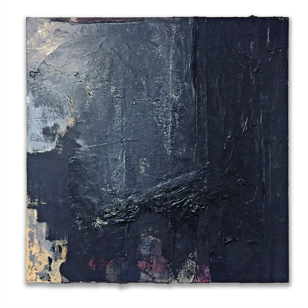 "Untitled (Textural Black), 2018, acrylic, fabric and paper on canvas, 36"" x 36"" x 3"""