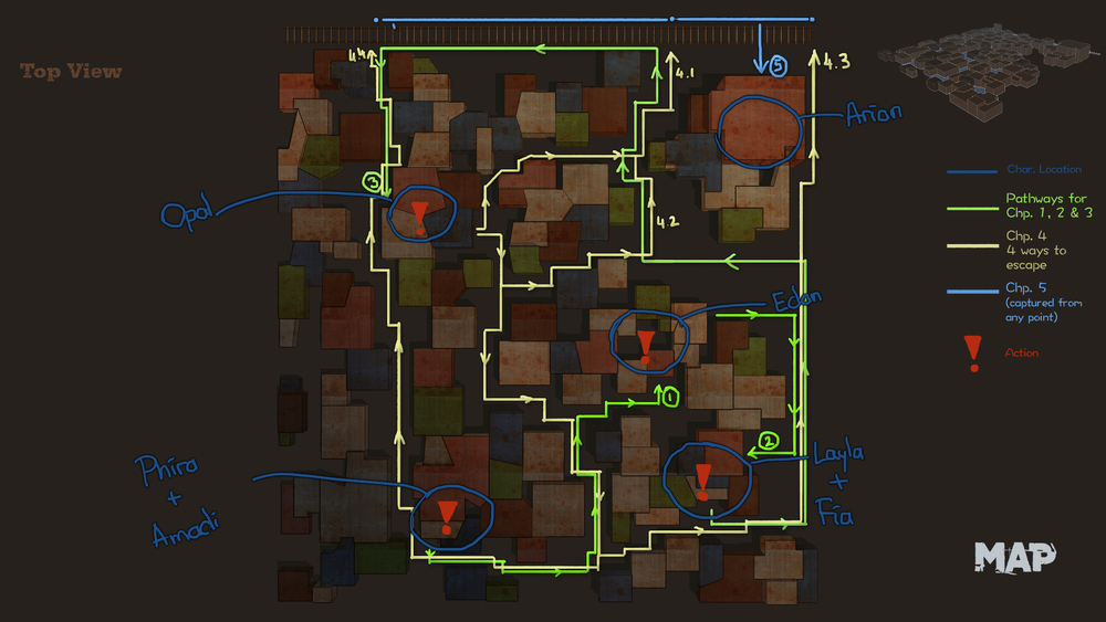 Initial map of the slum with all the character locations and (possible) pathways for the players to navigate through.