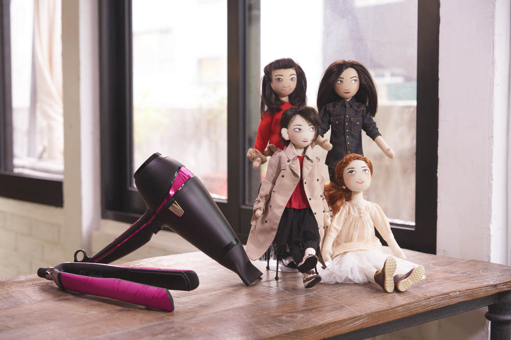 ghd Electric Pink Platinum Styler and Electric Pink Air Hairdryer; Ning Lau dolls