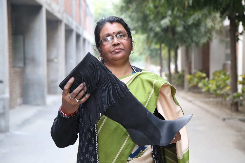 Meet Manju, prime stitcher of the footwear uppers in the sample room.