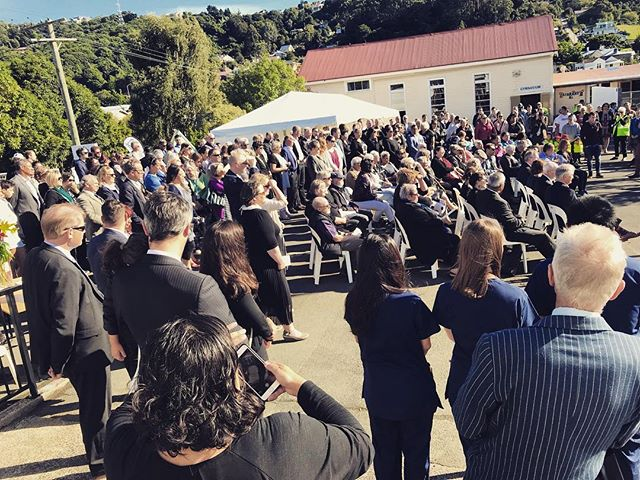 Some of the crowd at the Te Kāika official opening yesterday.